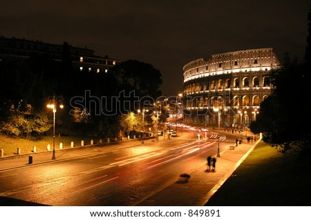 Roman Coliseum at night, Rome, Italy - stock photo