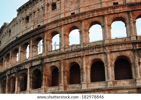 Roman Colosseum,Italy. A partial view of the iconic tourist attraction in Rome. - stock photo