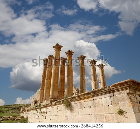 Roman Columns in the Jordanian city of Jerash (Gerasa of Antiquity), capital and largest city of Jerash Governorate, Jordan