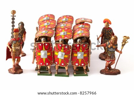 Roman combat phalanx - a tinny small soldiers - stock photo