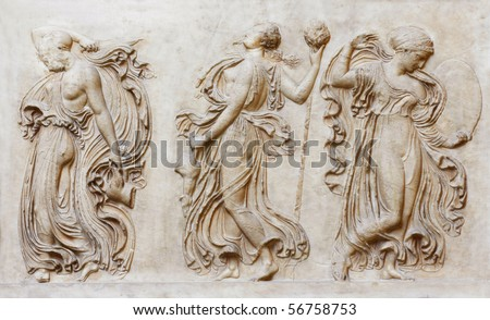 Roman copy of Greek relief with dance of Maenads. (Florence, Italy)