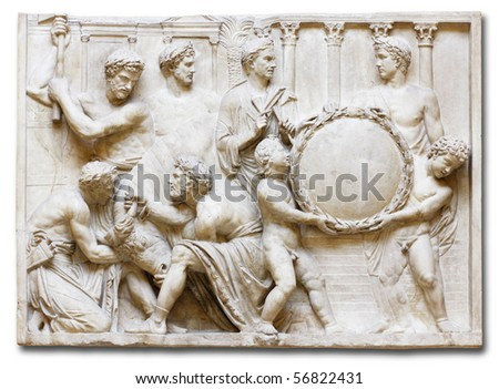 Roman copy of Greek relief with Sacrificial Scene. (Florence, Italy) - stock photo