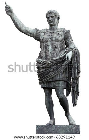 Roman emperor Augustus Caesar statue isolated on white, clipping path included - stock photo