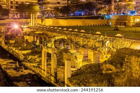 Roman Forum, Ancient Greek Agora in Thessaloniki, Greece - stock photo