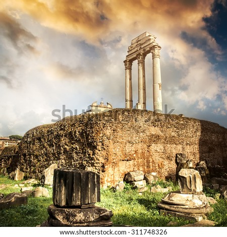 Roman Forum at sunset in Rome, Italy - stock photo