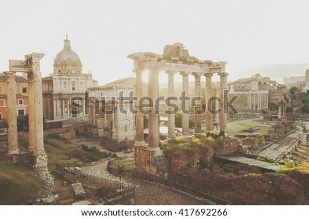 Roman Forum during sunrise in Rome, Italy, selective focus - stock photo