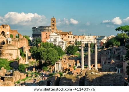 Roman Forum in Rome, Italy - stock photo