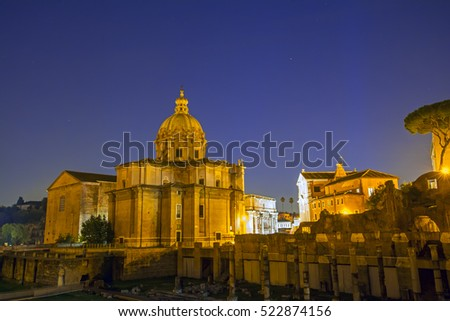 Roman Forum lit up at night, Rome, Italy