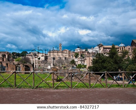 Roman Forum One of the most famous landmarks in the world located at Rome, Italy. - stock photo