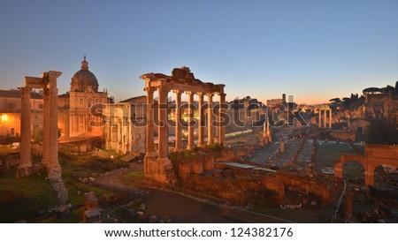 Roman Forum, or Forum Romanum, as seen from the Capitolium hill - stock photo