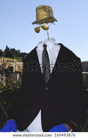 ROMAN FORUM, ROME HISTORICAL CENTER- APRIL 14: A street artist performs at the Invisible Man, April 14, 2013 in Rome, Italy. - stock photo