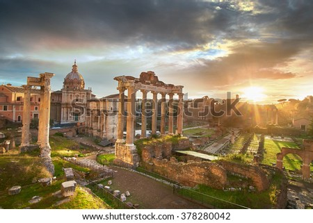 Roman Forum. Ruins of Roman Forum in Rome, Italy during sunrise. - stock photo