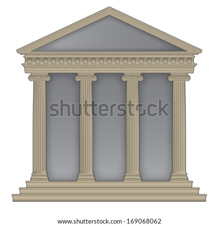 Roman/Greek Temple with ionic columns, high detailed with outline