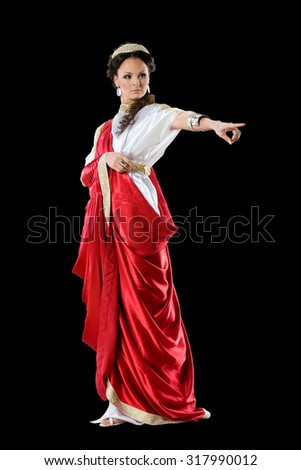 Roman-Greek women in red dress, isolated on black background