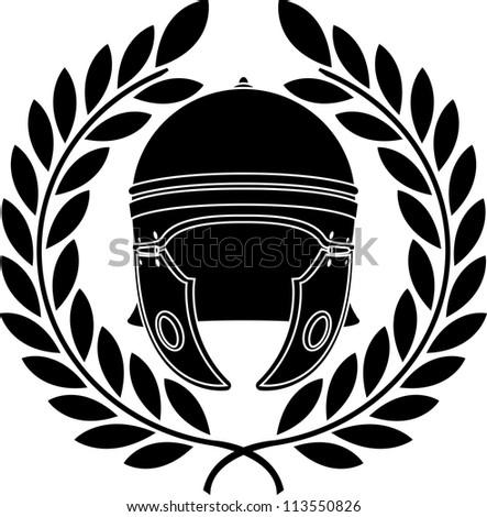 roman helmet. stencil. second variant. raster variant - stock photo