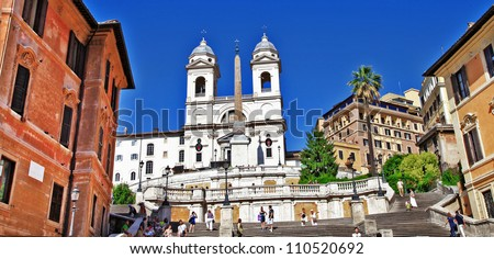 Roman landmarks - Spanish steps - stock photo