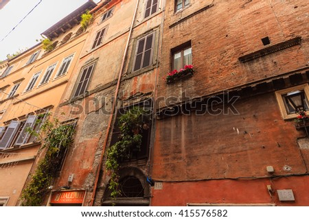 Roman landscape. Beautiful streets of Rome
