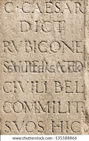 Roman Latin Letters - Julius Caesar Stone - stock photo