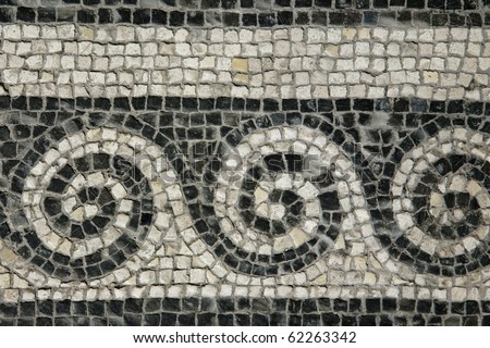 Roman mosaic - Roman House - Spoleto - stock photo