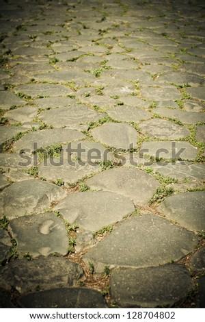 Roman Pavement, Rome, Italy - stock photo