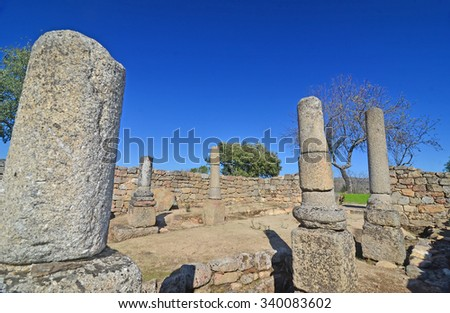 Roman ruins at Prazo, Northern Portugal, close to the River Duro - stock photo