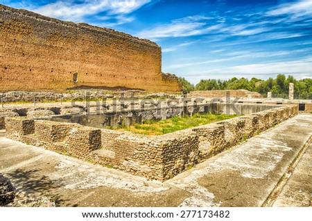 Roman Ruins at VIlla Adriana (Hadrian's Villa), Tivoli, Italy - stock photo