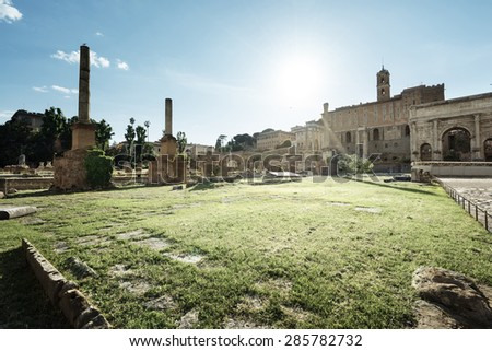 Roman ruins in Rome, Forum - stock photo