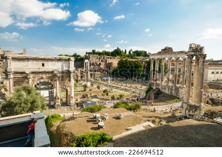 Roman ruins in Rome, Forum, Historic City Center, Italy - stock photo