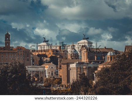 Roman ruins in Rome, Forum. Italy - stock photo