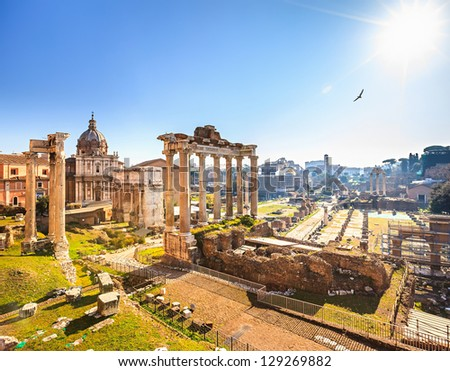 Roman ruins in Rome, Italy - stock photo