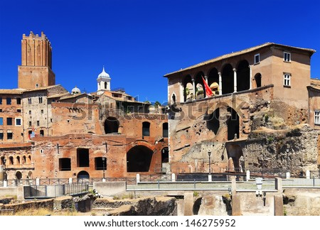 Roman ruins in Rome, Italy, Europe