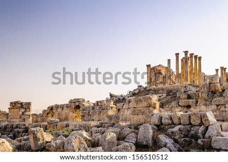 Roman ruins in the Jordanian city of Jerash, (Gerasa of Antiquity), capital and largest city of Jerash Governorate, Jordan - stock photo