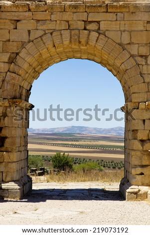Roman ruins in Volubilis, Morocco - stock photo