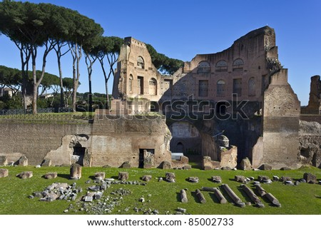 Roman ruins.Small Circus Track on Palatine Hill in Rome, Italy - stock photo