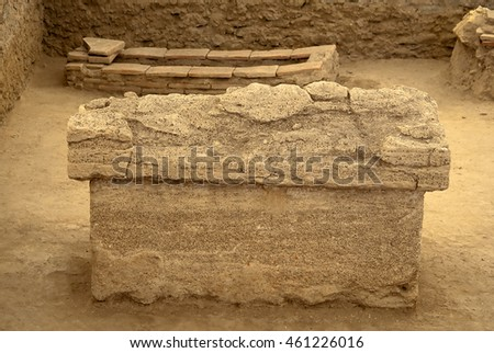 Roman sarcophagus in the archeological site Viminacium
