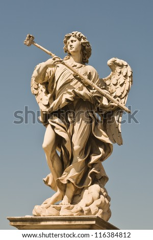 Roman sculpture angel with a club in his hands - stock photo
