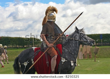 Roman Soldier on Horseback - stock photo