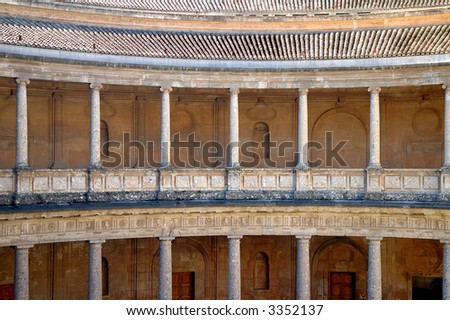 Roman styled columns in Alhambra Palace, Spain - stock photo