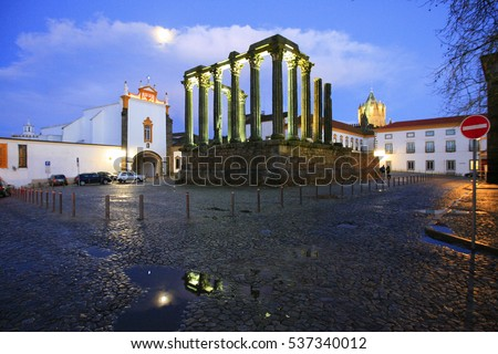 roman temple of Evora by night at full moon, Alentejo, Portugal. This temple is dedicated to Diana, Roman goddess of the moon, the hunt and chastity