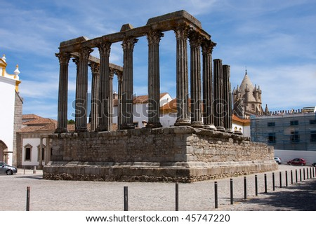 Roman Temple of Evora (Diana Temple) - stock photo