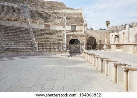 Roman theater in Amman, Jordan. Inside view  - stock photo