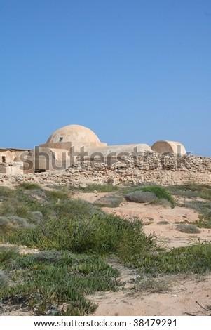 Roman Villa Sileen on the Mediterranean coast of Libya, east of Tripoli. - stock photo