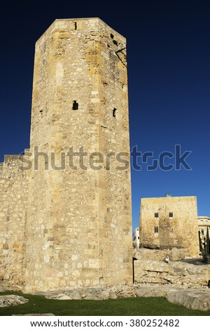 Roman wall of Tarragona.Catalonia.Spain - stock photo
