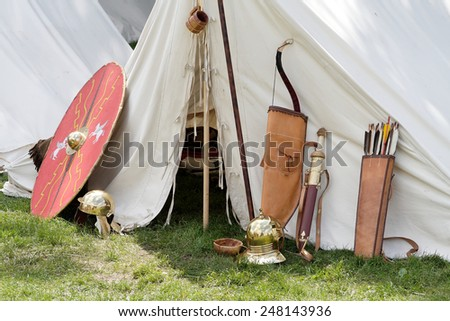 Roman weapons - stock photo