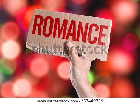 Romance card with colorful background with defocused lights - stock photo