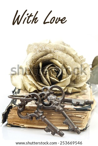 romance is the key to love, concept; keys, closed book and keys with copy-space - stock photo