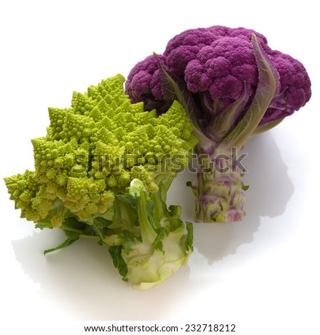 Romanesco and purple cauliflower - stock photo
