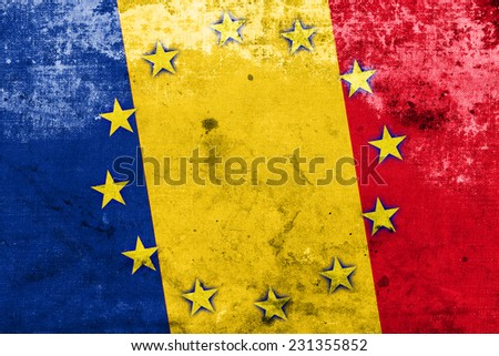 Romania and European Union Flag with a vintage and old look - stock photo