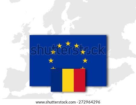 Romania and European Union Flag with Europe map background - stock photo