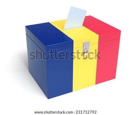 Romania ballot box with Romanian Flag. Isolated on white background. - stock photo